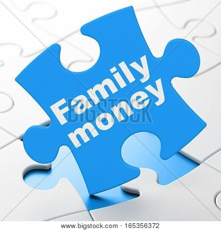 Money concept: Family Money on Blue puzzle pieces background, 3D rendering