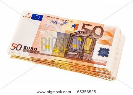 Bundle Of Euro Banknotes Isolated
