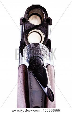 Shotgun Breech Closeup Isolated