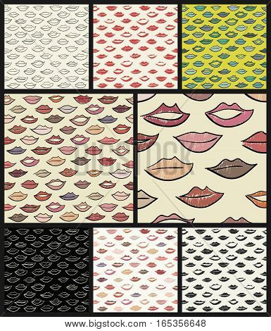 Set of seamless patterns with lips. Kissing background in vector.