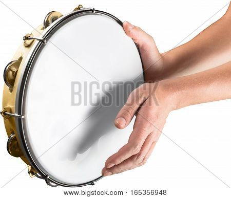 Hands Holding a Tambourine and Playing - Isolated