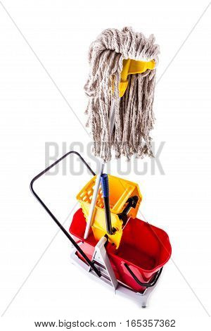 Mop Bucket Over White