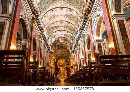 Salta, Argentina - October 31, 2016: Inside of Cathedral in Salta (Argentina)