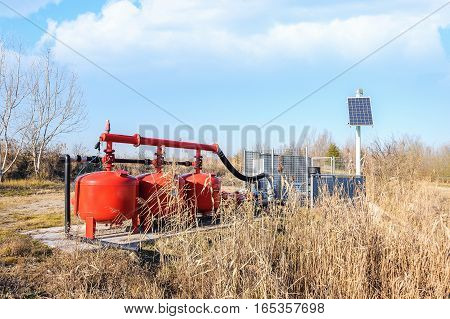 System pumping water for agriculture with the control unit powered by solar energy