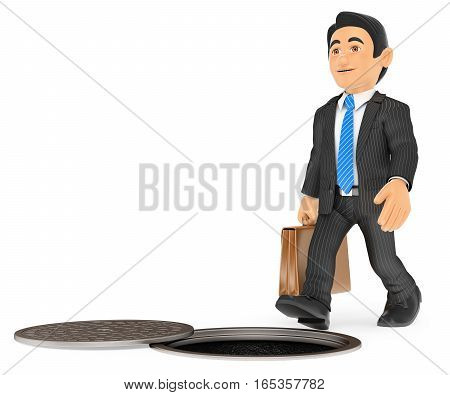 3d business people illustration. Businessman about to fall by an open sewer. occupational risks. Isolated white background.