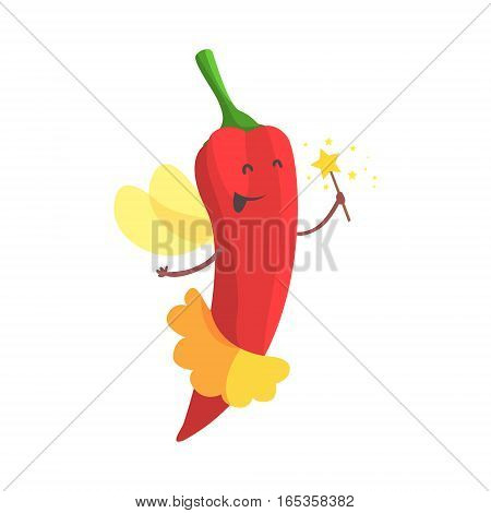 Chili Pepper Fairy In Skirt WIth Magic Wand, Part Of Vegetables In Fantasy Disguises Series Of Cartoon Silly Characters. Colorful Vector Illustration With Fresh Food Disguised As Magic And Comics Creatures.