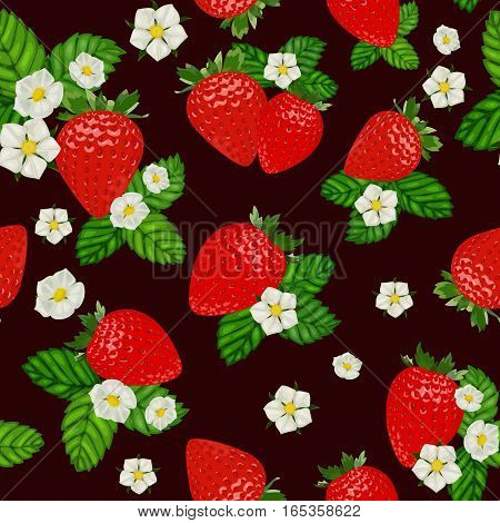 Vector strawberry seamless pattern. Background design for tea, juice, natural cosmetics, sweets and candy with strawberry filling, farmers market, health care products. Best for textile, wrapping paper.