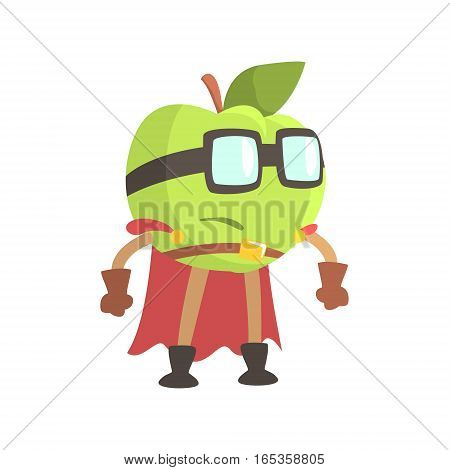 Apple In Glasses Wearing Cape Superhero Costume, Part Of Fruits In Fantasy Disguises Series Of Cartoon Silly Characters. Colorful Vector Illustration With Fresh Food Disguised As Magic And Comics Creatures.