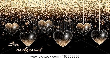 Valentines Day background with hearts and gold glitter