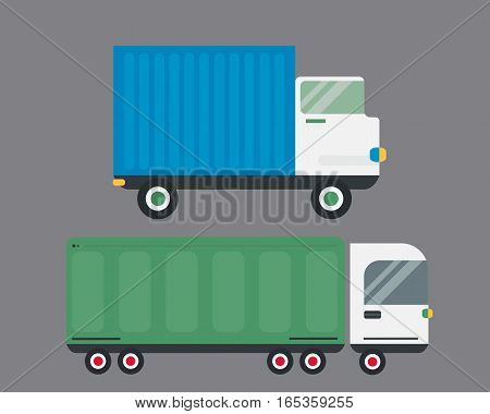 Delivery transport cargo logistic vector illustration. Commercial highway industrial city truck. Fast shipment distribution export courier car.