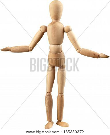 Miniature wooden mannequin with its arms spread out
