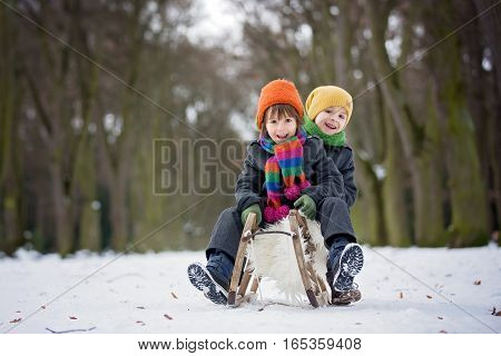Two Happy Little Children, Boys, Playing Outdoors In Snowy Park