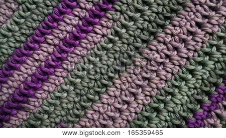 Self made violet and green wool with colours