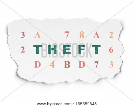 Safety concept: Painted green text Theft on Torn Paper background with  Hexadecimal Code