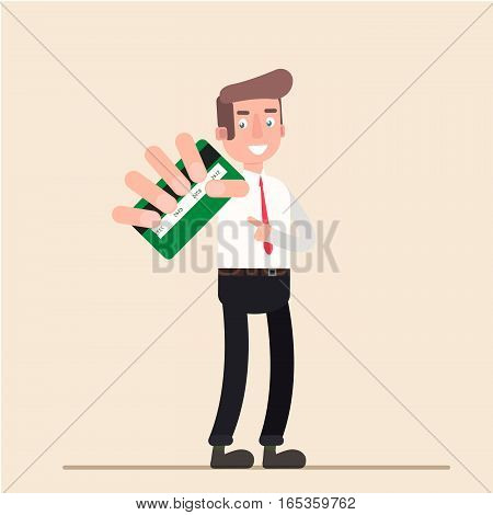 Businessman shows credit card. Isolated illustration, flat, vector EPS10
