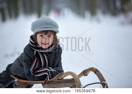 Cute Little Boy, Lying Down On Sledge, Smiling At Camera