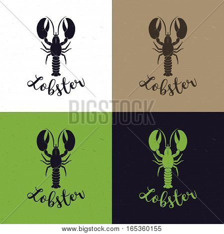 Seafood restaurant logo template with lobster on different background. Template for icon, logo, print, tattoo