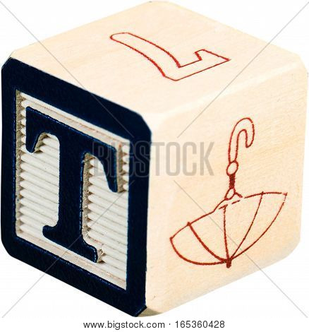 Wooden Letter Block With Letter T - Isolated