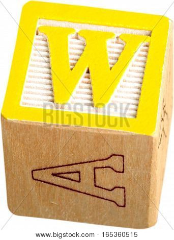 Wooden Letter Block With Letter W - Isolated