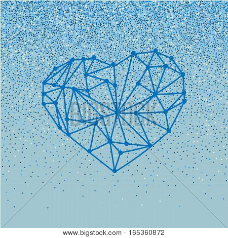 Happy Valentines Day love greeting card with geometric heart on blue background with falling glitter effect
