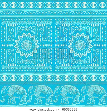 Pattern with baby elephant and mandala made in vector. Color illustration