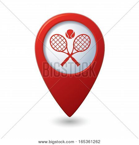 Red map pointer with tennis racket and ball icon