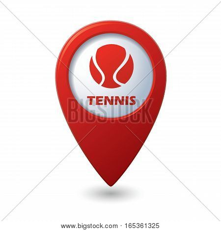 Red map pointer with tennis ball icon