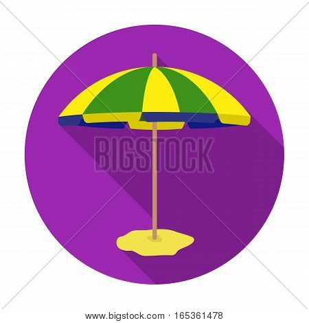 Yelow-green beach umbrella icon in flat design isolated on white background. Brazil country symbol stock vector illustration.