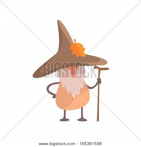 Mushroom Desguised As Beardy Wise Man, Part Of Vegetables In Fantasy Disguises Series Of Cartoon Silly Characters. Colorful Vector Illustration With Fresh Food Disguised As Magic And Comics Creatures.