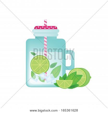 Fresh homemade lemonade in vintage mason jar with lime, ice, mint and lime slice