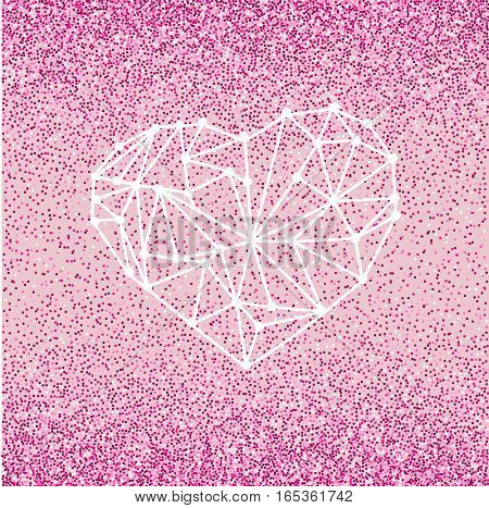 Happy Valentines Day love greeting card with geometric heart on pink background with crimson glitter effect