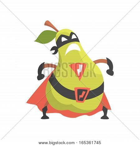 Pear Dressed As Superhero With Cape And Mask, Part Of Vegetables In Fantasy Disguises Series Of Cartoon Silly Characters. Colorful Vector Illustration With Fresh Food Disguised As Magic And Comics Creatures.