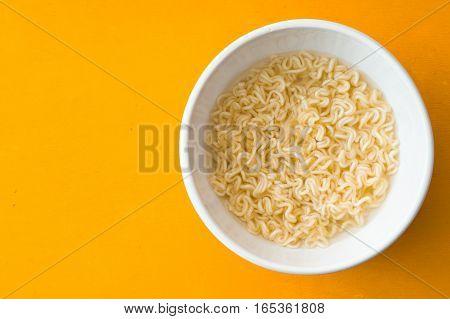 Soup Ramen noodles in ceramic bowl horizontal