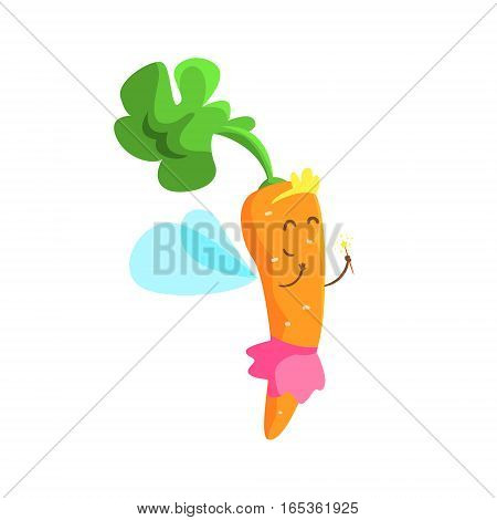 Carrot Dressed As Fairy Princess With Diadem And Skirt, Part Of Vegetables In Fantasy Disguises Series Of Cartoon Silly Characters. Colorful Vector Illustration With Fresh Food Disguised As Magic And Comics Creatures.