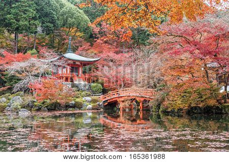 Daigoji temple with red maple trees in autumn season Kyoto Japan.