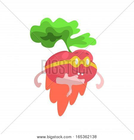 Radish WIth Glasses And Cape Dressed As Superhero, Part Of Vegetables In Fantasy Disguises Series Of Cartoon Silly Characters. Colorful Vector Illustration With Fresh Food Disguised As Magic And Comics Creatures.