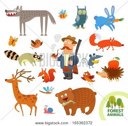 Set funny forest little animals. Funny cartoon character. Hunter, hare, owl, wolf, raccoon, squirrel, deer, bear, hedgehog, mouse, fox. Vector illustration. Isolated on white background