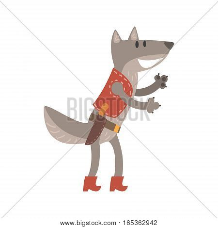 Wolf In Leather Vest With Knife, Forest Animal Dressed In Human Clothes Smiling Cartoon Character. Vector Childish Flat Illustration With Funky Woodland Fauna.