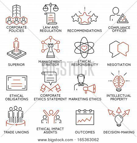 Vector set of 16 icons related to business ethics management strategy and development. Mono line pictograms and infographics design elements - part 3