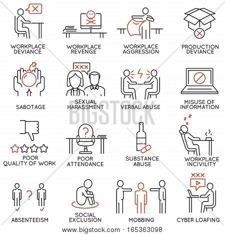 Vector set of 16 icons related to business ethics organizational behavior in the workplace and workplace incivility. Mono line pictograms and infographics design elements - part 1