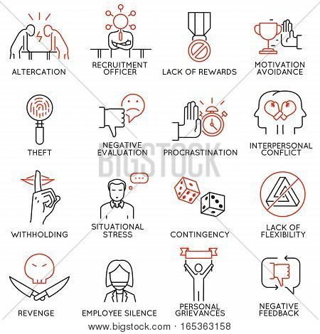 Vector set of 16 icons related to business ethics organizational behavior in the workplace and workplace incivility. Mono line pictograms and infographics design elements - part 2