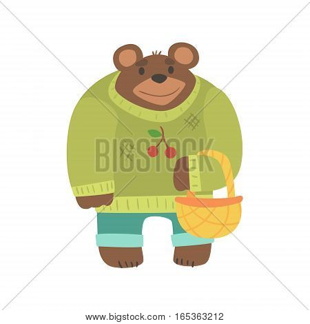 Brown Bear In Sweater With Wicker Basket, Forest Animal Dressed In Human Clothes Smiling Cartoon Character. Vector Childish Flat Illustration With Funky Woodland Fauna.