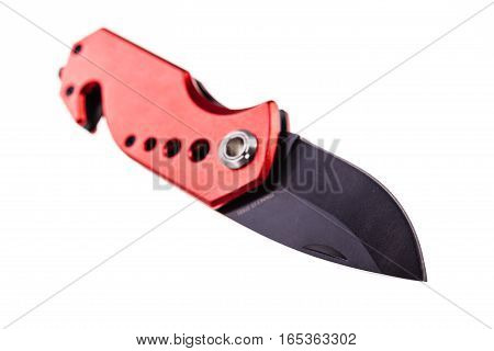 Red Pocket Knife Over White