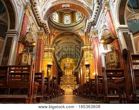 Salta, Argentina - October 31, 2016: The Inside of Cathedral in Salta (Argentina)