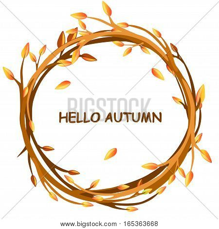 Cute background greeting card, HELLO AUTUMN in circle of twigs, set 4 season