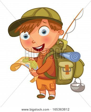 Boy Scouts. Funny cartoon character. Vector illustration. Isolated on white background