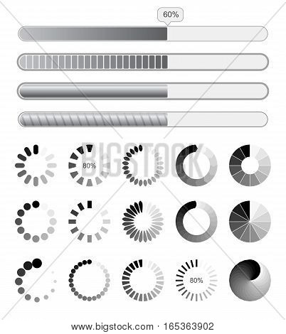 Collection black-white preloaders. Vector illustration. Isolated on white background. Set