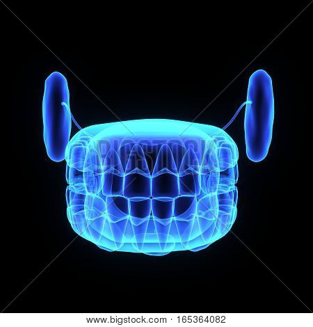 A tooth (plural teeth) is a small, calcified, whitish structure found in the jaws (or mouths) of many vertebrates and used to break down food.