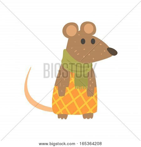 Muse In Checkered Pants And Scarf, Forest Animal Dr.essed In Human Clothes Smiling Cartoon Character. Vector Childish Flat Illustration With Funky Woodland Fauna.