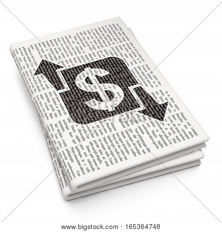 Business concept: Pixelated black Finance icon on Newspaper background, 3D rendering